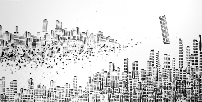 Vaan Ip - Lost City 3, 180 x 90 cm, Ink on Canvas, 2009