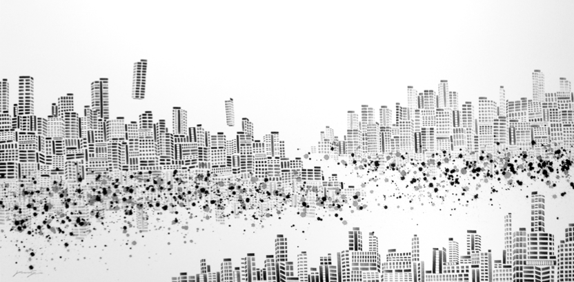 Vaan Ip - Lost City 4, 180 x 90 cm, Ink on Canvas, 2009
