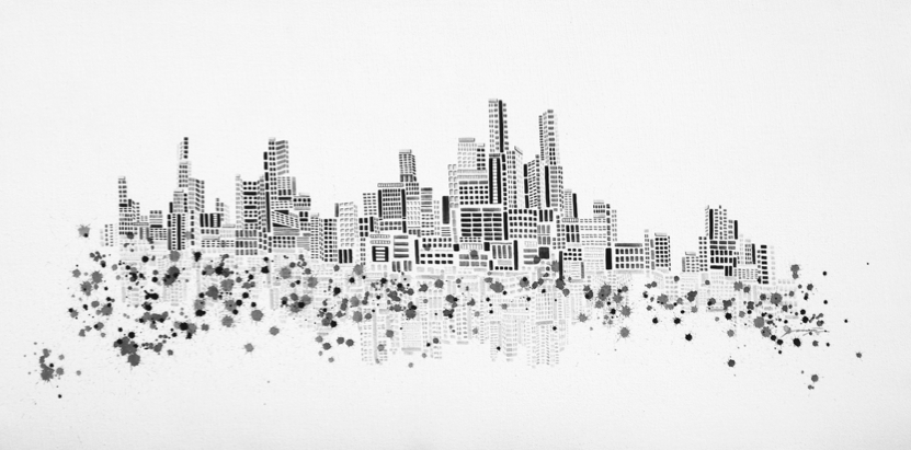 Vaan Ip - Lost City, 180 x 90 cm, Ink on Canvas, 2009