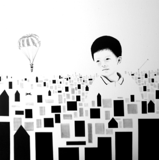 Vaan Ip - Paraman, 120 x 120 cm, Ink on Canvas, 2009