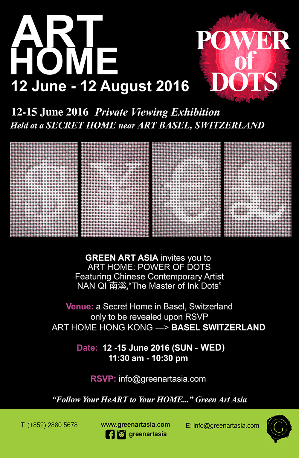 Green Art Asia ART HOME POWER of DOTS in BASEL SWIZTERLAND
